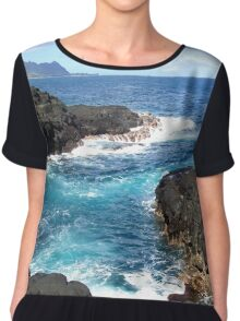 Blue Ocean Waters of Queens Bath on Kauai Hawaii Chiffon Top