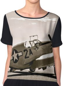 Tuskegee P-51 Mustang Vintage Fighter Plane Chiffon Top