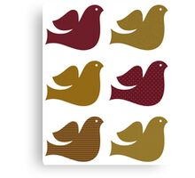 Stylized textured doves collection Canvas Print