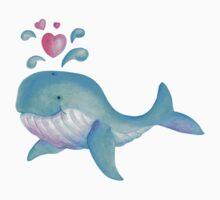 Cute whimsical whale heart spurt kids art  One Piece - Short Sleeve