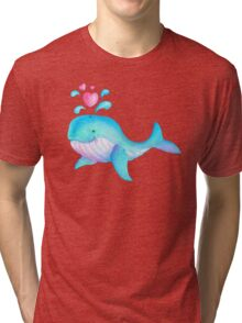 Cute whimsical whale heart spurt kids art  Tri-blend T-Shirt