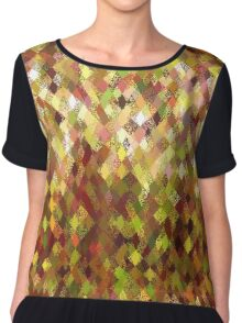 Autumn Colours Harlequin Abstract Pattern  Chiffon Top