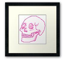 Pastel Pink Pixel Skull Framed Print