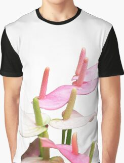 Pink and White Lilies Top View Graphic T-Shirt
