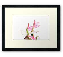Pink and White Lilies Top View Framed Print