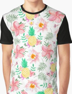 Modern tropical summer pink yellow watercolor flowers Graphic T-Shirt