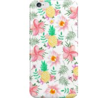 Modern tropical summer pink yellow watercolor flowers iPhone Case/Skin