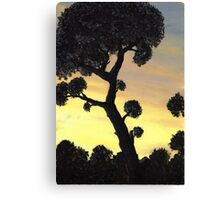 Sunset Silhouette in Oil Canvas Print