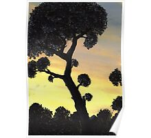 Sunset Silhouette in Oil Poster