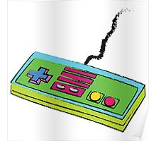 NES Controller Neon 80s Colors Poster