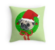 Christmas Pug Throw Pillow