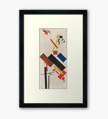 Kazimir Malevich - Stroyuschiysya Dom. Abstract painting: abstract art, geometric, expressionism, composition, lines, forms, creative fusion, spot, shape, illusion, fantasy future Framed Print