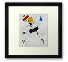 Kazimir Malevich - Suprematism. Abstract painting: abstract art, geometric, expressionism, composition, lines, forms, creative fusion, spot, shape, illusion, fantasy future Framed Print