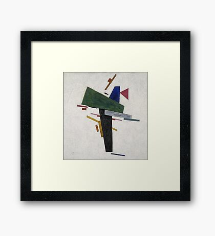 Kazimir Malevich - Untitled. Abstract painting: abstract art, geometric, expressionism, composition, lines, forms, creative fusion, spot, shape, illusion, fantasy future Framed Print