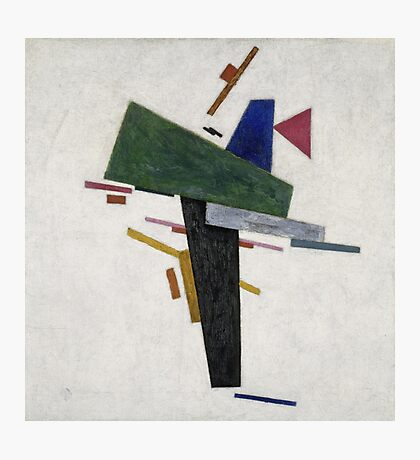 Kazimir Malevich - Untitled. Abstract painting: abstract art, geometric, expressionism, composition, lines, forms, creative fusion, spot, shape, illusion, fantasy future Photographic Print
