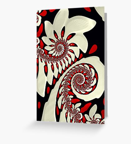 Red and Black Swirl Fractal Greeting Card