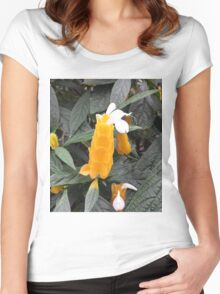 Yellow Tropical Flower Women's Fitted Scoop T-Shirt