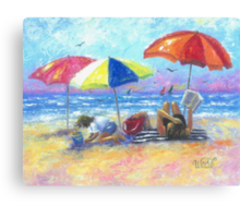 At the Beach With Mom Canvas Print