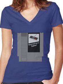 NES Cartridge - Nostalgic Gamer Women's Fitted V-Neck T-Shirt