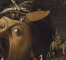 Joos Van Craesbeeck - The Temptation Of Saint Anthony. Man portrait: giant , gigantic, head, eyes, mouth, nose,  painting, medieval, anthony, saint, Flemish Sticker