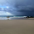 Longboarder And Storm Snapper Rocks by Noel Elliot