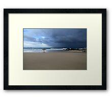 Longboarder And Storm Snapper Rocks Framed Print
