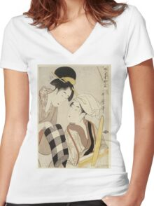 Kitagawa Utamaro - A Half-Length Portrait Of Two Women. Woman portrait: sensual woman, geisha, female style, traditional dress, femine, headdress,  hairstyle, courtesans, sexy lady, samurai Women's Fitted V-Neck T-Shirt