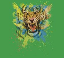 Angry Tiger Roaring Colorful Splatter by OlechkaDesign