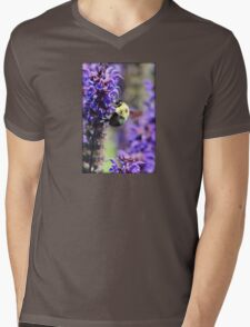 Bee Collecting Pollen From Purple Flower Mens V-Neck T-Shirt