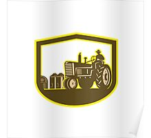 Farmer Driving Tractor Plowing Farm Shield Retro Poster