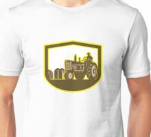 Farmer Driving Tractor Plowing Farm Shield Retro Unisex T-Shirt