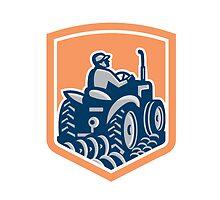 Farmer Driving Tractor Plowing Rear Shield Retro by patrimonio