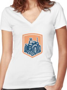 Farmer Driving Tractor Plowing Rear Shield Retro Women's Fitted V-Neck T-Shirt