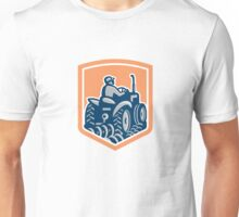 Farmer Driving Tractor Plowing Rear Shield Retro Unisex T-Shirt