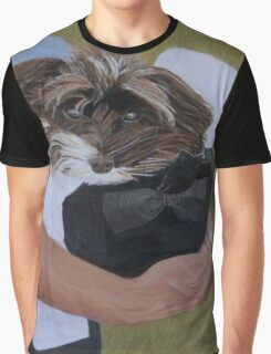 """""""I Got Carried Away"""" Puppy Dog in Equestrian Helmet Painting Graphic T-Shirt"""