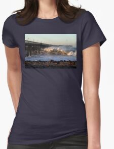 Ocean Wave Storm Pier Womens Fitted T-Shirt