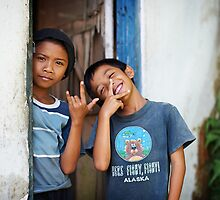 """ Brothers having fun "" by Malcolm Heberle"