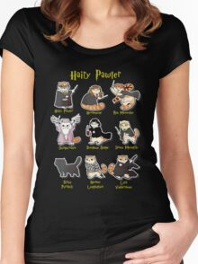 Hairy Pawter Meow 9 Characters Women's Fitted Scoop T-Shirt