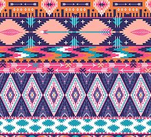 Navajo colorful  tribal pattern by Olena Syerozhym