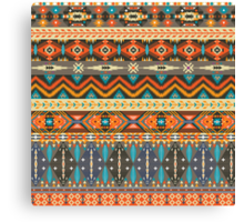 Colorful  tribal pattern with geometric elements Canvas Print