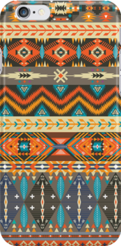 Colorful  tribal pattern with geometric elements by Olena Syerozhym