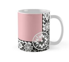 White lace frame with flowers and lacy elements on dark pink background Mug