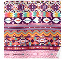 Colorful  native american  pattern with geometric elements Poster