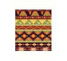 Seamless colorful aztec pattern with birds and arrow Art Print