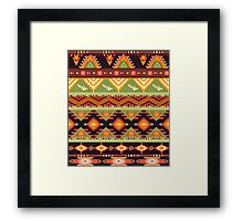 Seamless colorful aztec pattern with birds and arrow Framed Print