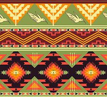Seamless colorful aztec pattern with birds and arrow by tomuato