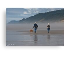 Elderly Couple Walking a Dog Canvas Print
