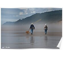 Elderly Couple Walking a Dog Poster