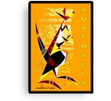 """AUSTRALIA"" Art Deco Kangaroo's Travel Print Canvas Print"