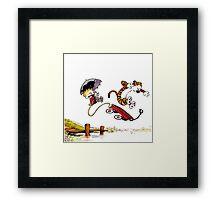 Calvin And Hobbes Jumping Framed Print